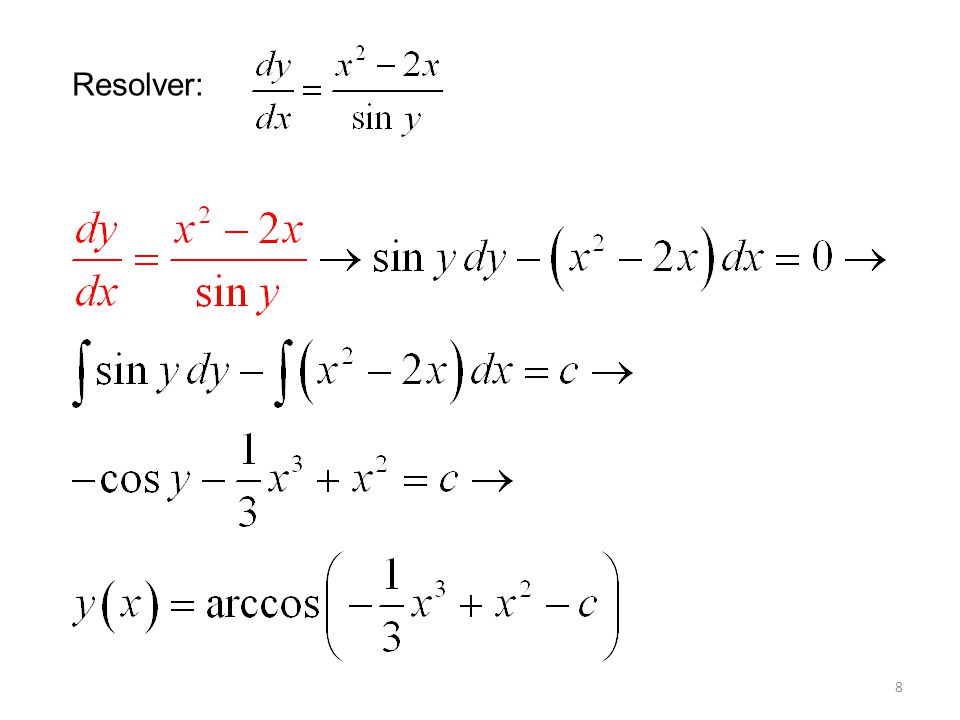 9 Solución: Separamos variables: Aplicamos la identidad sen (2x) = 2 sen x cos x: (e y – ye -y ) dy = 2 sin x dx Integrando por partes: e y + ye -y + e -y = -2 cos x + c Puesto que y(0) = 0, c = 4 y la solución implícita es: e y + ye -y + e -y = 4 2 cos x.