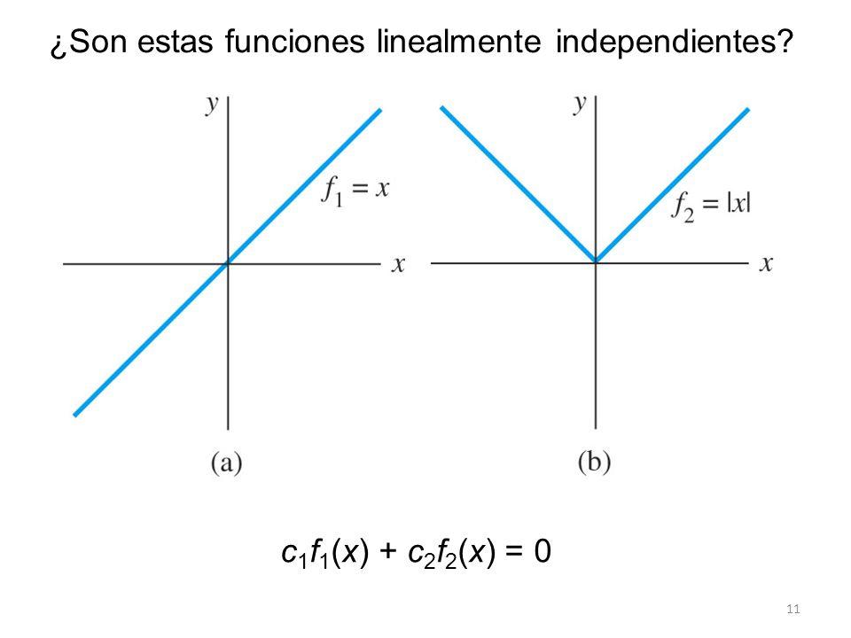 11 ¿Son estas funciones linealmente independientes? c 1 f 1 (x) + c 2 f 2 (x) = 0