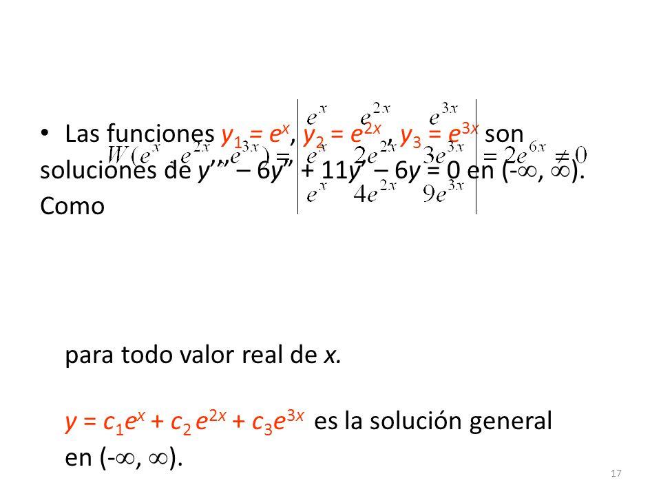17 Las funciones y 1 = e x, y 2 = e 2x, y 3 = e 3x son soluciones de y – 6y + 11y – 6y = 0 en (-, ).