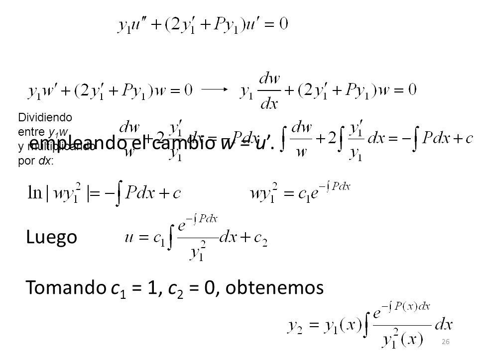 26 empleando el cambio w = u.