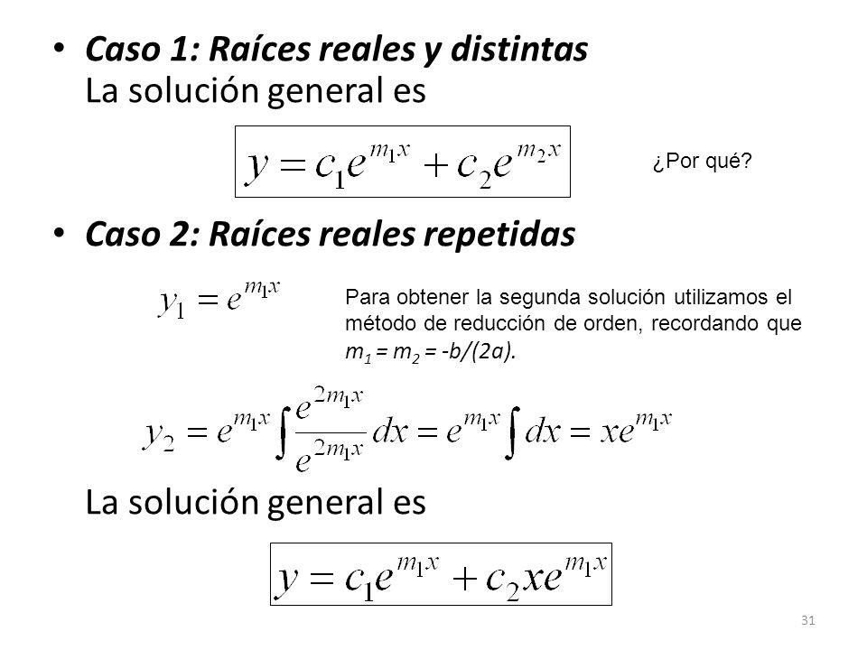31 Caso 1: Raíces reales y distintas La solución general es Caso 2: Raíces reales repetidas La solución general es ¿Por qué.