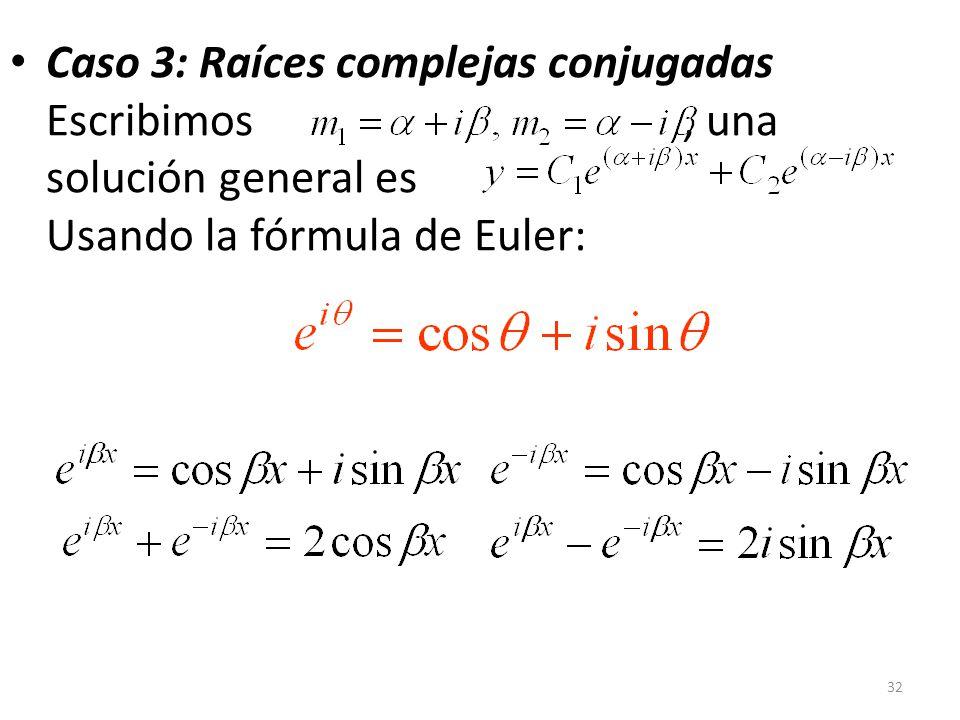 32 Caso 3: Raíces complejas conjugadas Escribimos, una solución general es Usando la fórmula de Euler: