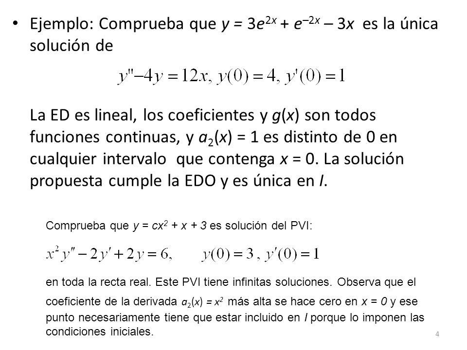65 Ecuación de Cauchy-Euler Forma de ecuación de Cauchy-Euler Método de solución Probamos y(x) = x m, donde debemos determinar m, para resolver la ecuación homogénea asociada: Observa que: