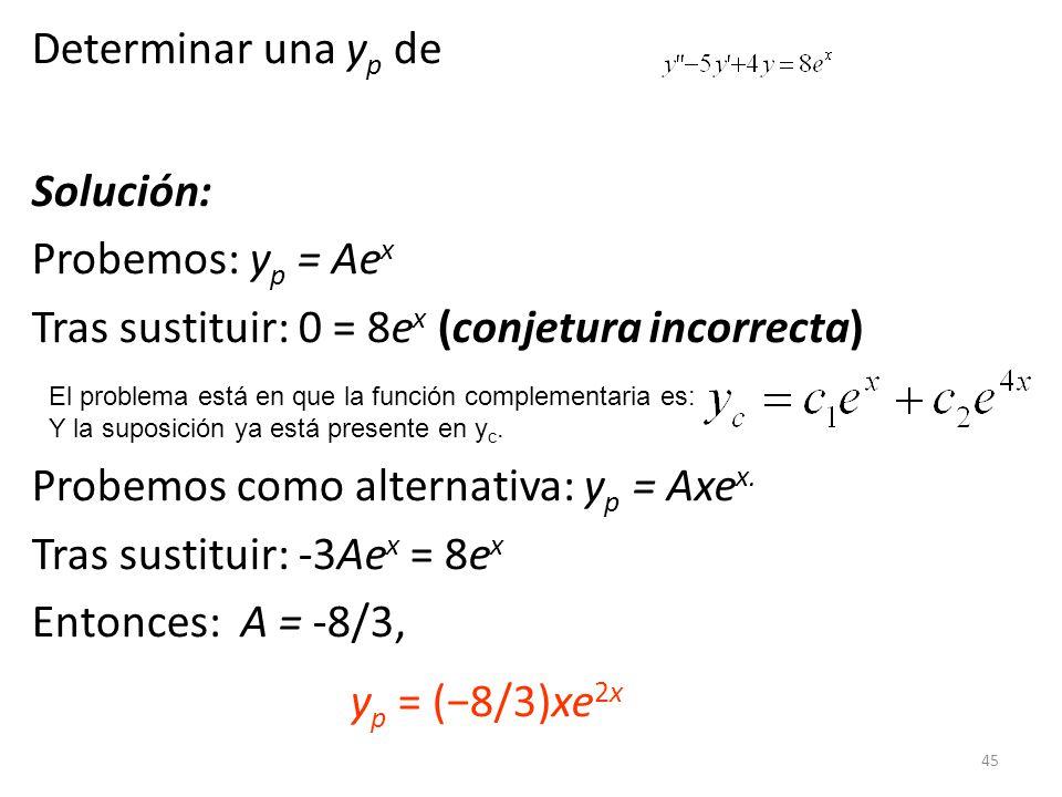 45 Determinar una y p de Solución: Probemos: y p = Ae x Tras sustituir: 0 = 8e x (conjetura incorrecta) Probemos como alternativa: y p = Axe x.