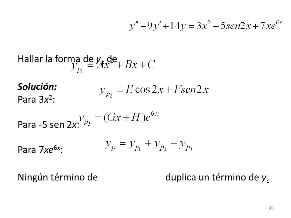 48 Hallar la forma de y p de Solución: Para 3x 2 : Para -5 sen 2x: Para 7xe 6x : Ningún término de duplica un término de y c