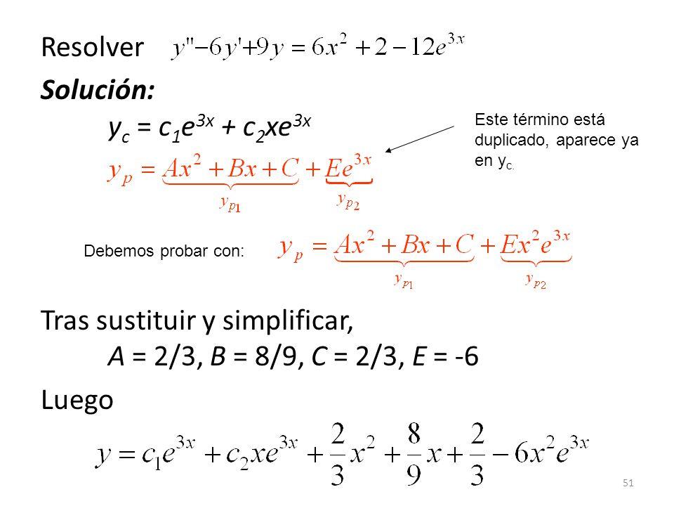 51 Resolver Solución: y c = c 1 e 3x + c 2 xe 3x Tras sustituir y simplificar, A = 2/3, B = 8/9, C = 2/3, E = -6 Luego Este término está duplicado, aparece ya en y c.