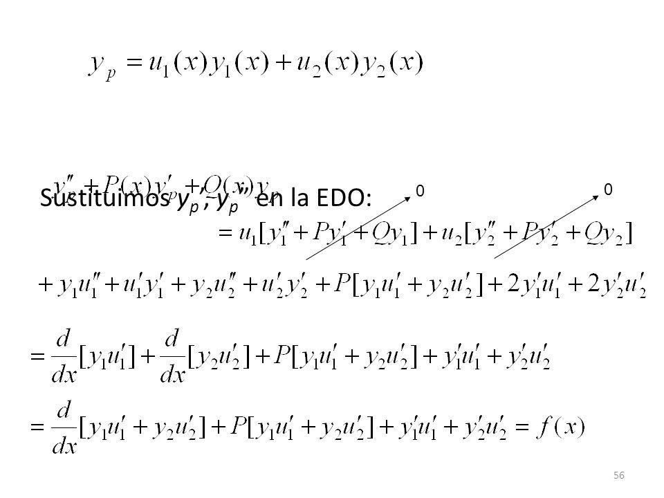 56 Sustituimos y p, y p en la EDO: 0 0