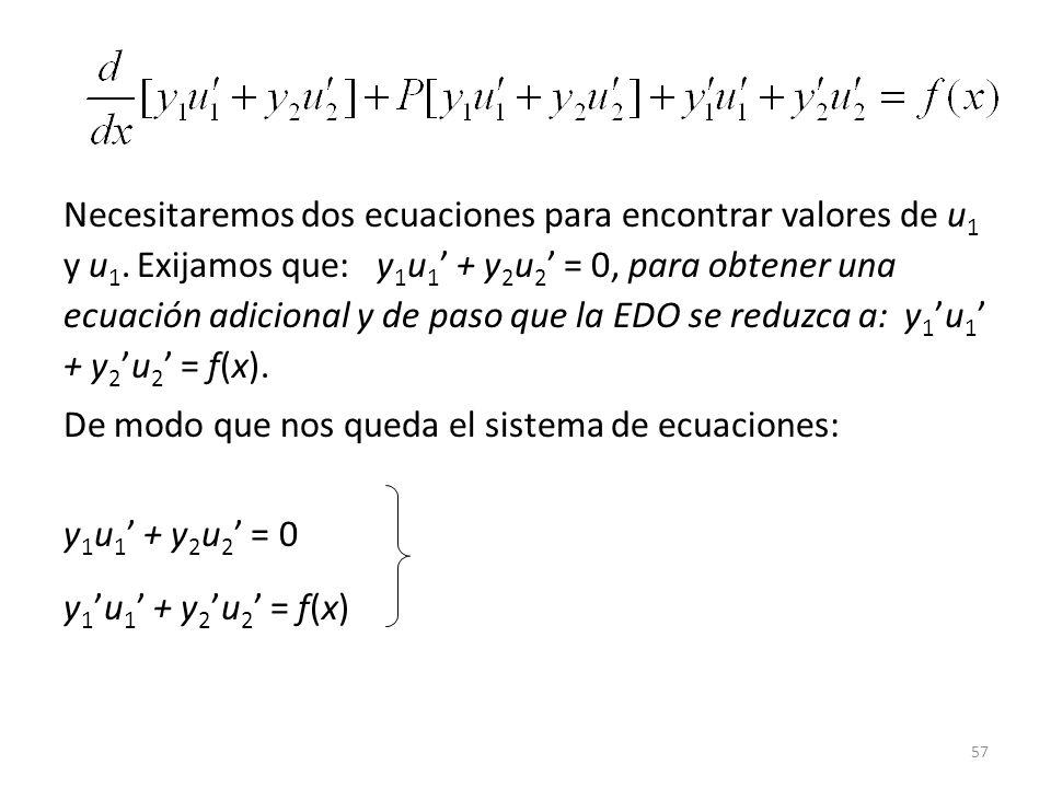 57 Necesitaremos dos ecuaciones para encontrar valores de u 1 y u 1.
