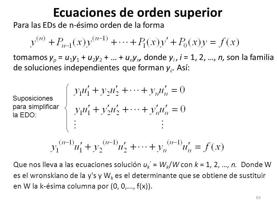 64 Para las EDs de n-ésimo orden de la forma tomamos y p = u 1 y 1 + u 2 y 2 + … + u n y n, donde y i, i = 1, 2, …, n, son la familia de soluciones independientes que forman y c.