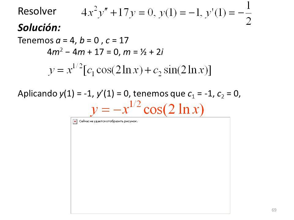 69 Resolver Solución: Tenemos a = 4, b = 0, c = 17 4m 2 4m + 17 = 0, m = ½ + 2i Aplicando y(1) = -1, y(1) = 0, tenemos que c 1 = -1, c 2 = 0,