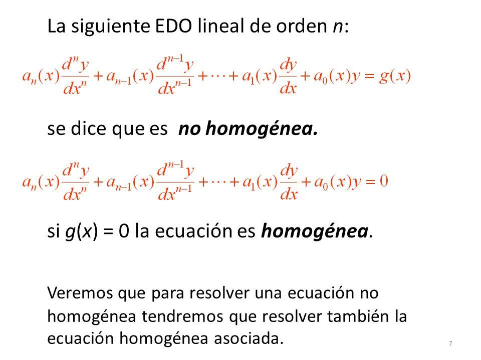 18 y = c 1 y 1 + c 2 y 2 +… + c k y k + y p = y c + y p = función complementaria + una solución particular Solución General (Ecuaciones no homogéneas) Sea y p cualquier solución particular de una EDO no homogénea en un intervalo I.