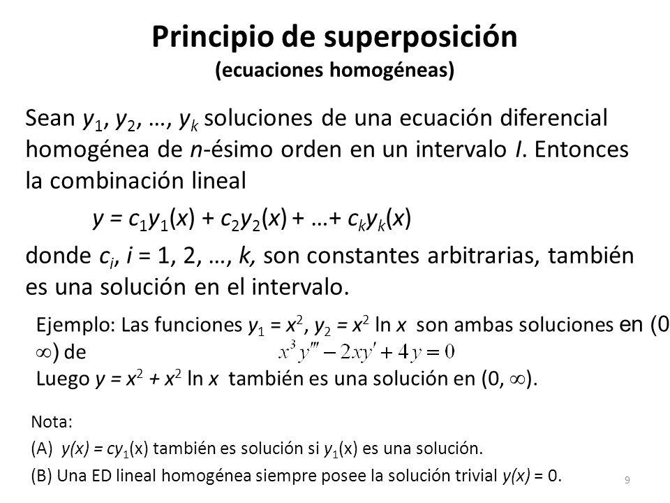 10 Dependencia e independencia lineal Un conjunto de funciones f 1 (x), f 2 (x), …, f n (x) es linealmente dependiente en un intervalo I, si existen ciertas constantes c 1, c 2, …, c n no todas nulas, tales que: c 1 f 1 (x) + c 2 f 2 (x) + … + c n f n (x) = 0 Si el conjunto no es linealmente dependiente, entonces es linealmente independiente.