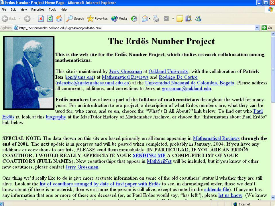 El número de Erdös Fue autor o coautor de 1.475 artículos matemáticos y colaboró en ellos con un total de 504 coautores distintos. Pál Erdös Pál Erdös