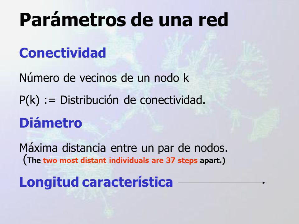 Parámetros de una red Conectividad Número de vecinos de un nodo k P(k) := Distribución de conectividad.