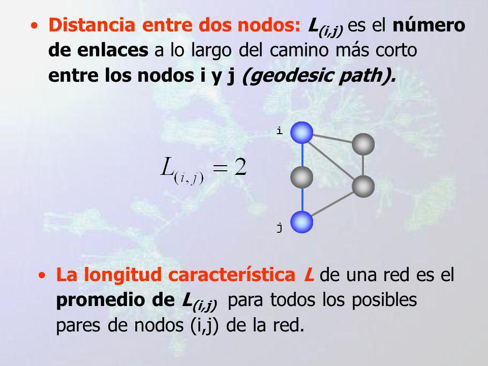 Distancia entre dos nodos: L (i,j) es el número de enlaces a lo largo del camino más corto entre los nodos i y j (geodesic path).