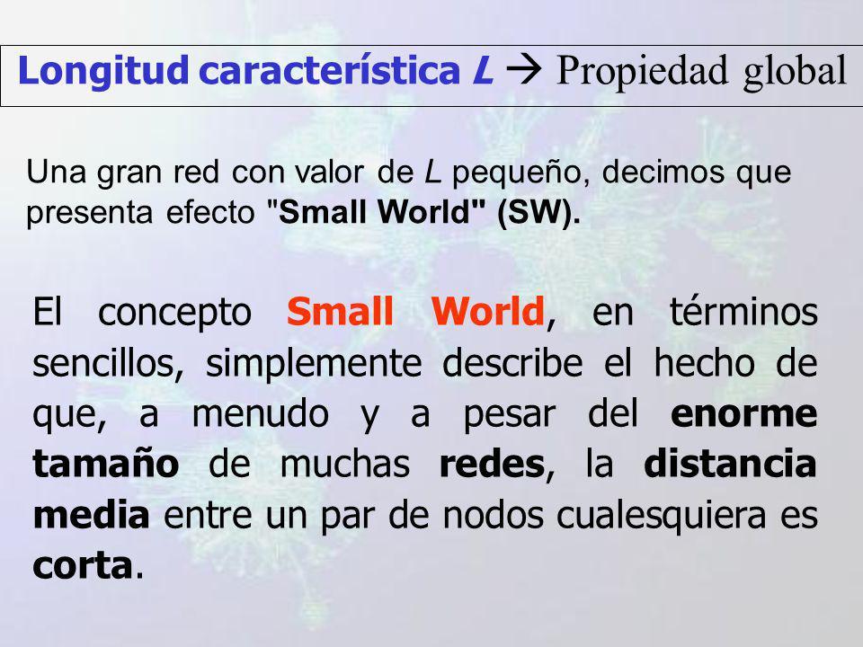 El concepto Small World, en términos sencillos, simplemente describe el hecho de que, a menudo y a pesar del enorme tamaño de muchas redes, la distancia media entre un par de nodos cualesquiera es corta.