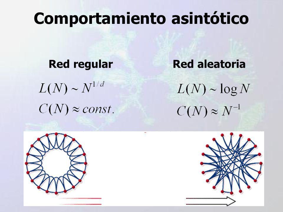 Comportamiento asintótico Red regularRed aleatoria