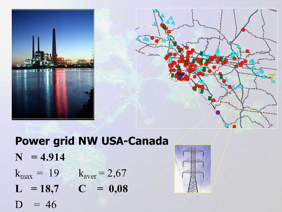 Power grid NW USA-Canada N = 4.914 k max = 19 k aver = 2,67 L = 18,7 C = 0,08 D = 46
