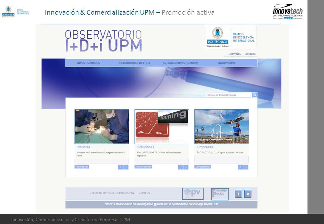 Innovación, Comercialización y Creación de Empresas UPM Innovación & Comercialización UPM – Promoción activa