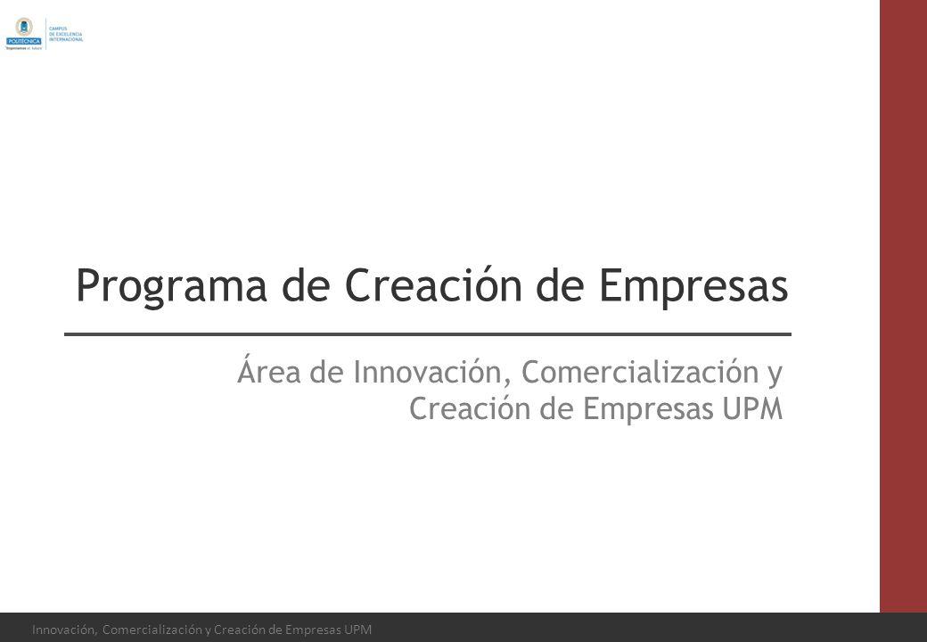 Innovación, Comercialización y Creación de Empresas UPM Programa de Creación de Empresas Área de Innovación, Comercialización y Creación de Empresas U