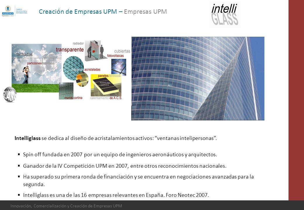 Innovación, Comercialización y Creación de Empresas UPM Intelliglass se dedica al diseño de acristalamientos activos: ventanas intelipersonas. Spin of