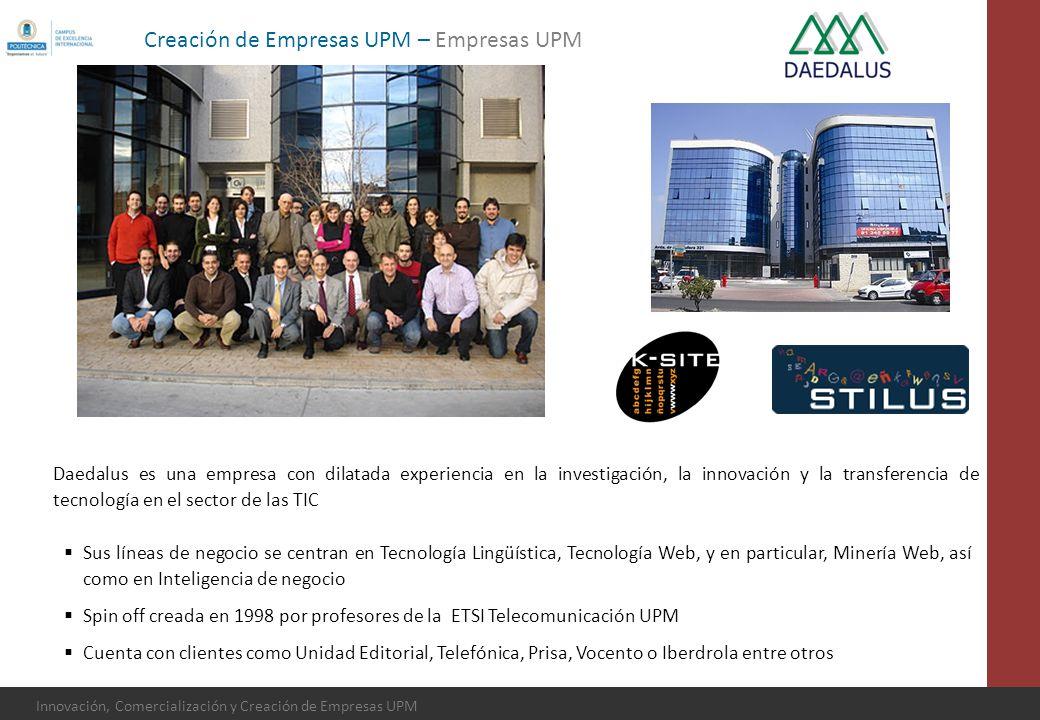 Innovación, Comercialización y Creación de Empresas UPM Daedalus es una empresa con dilatada experiencia en la investigación, la innovación y la trans