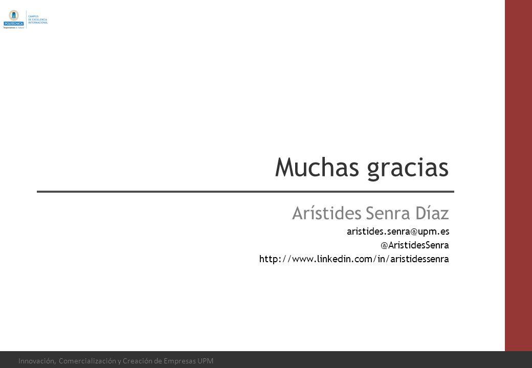 Innovación, Comercialización y Creación de Empresas UPM Muchas gracias Arístides Senra Díaz aristides.senra@upm.es @AristidesSenra http://www.linkedin