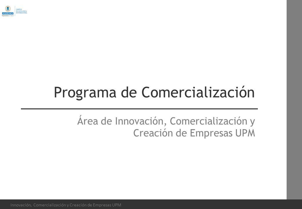 Innovación, Comercialización y Creación de Empresas UPM Programa de Comercialización Área de Innovación, Comercialización y Creación de Empresas UPM