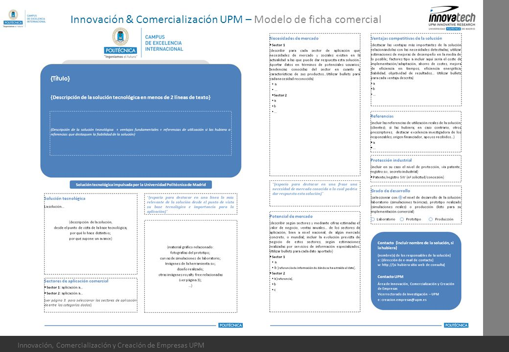 Innovación, Comercialización y Creación de Empresas UPM Innovación & Comercialización UPM – Modelo de ficha comercial