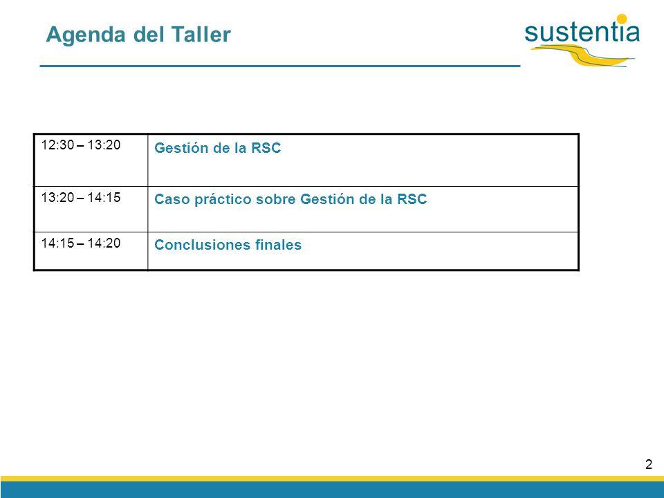 2 Agenda del Taller 12:30 – 13:20 Gestión de la RSC 13:20 – 14:15 Caso práctico sobre Gestión de la RSC 14:15 – 14:20 Conclusiones finales