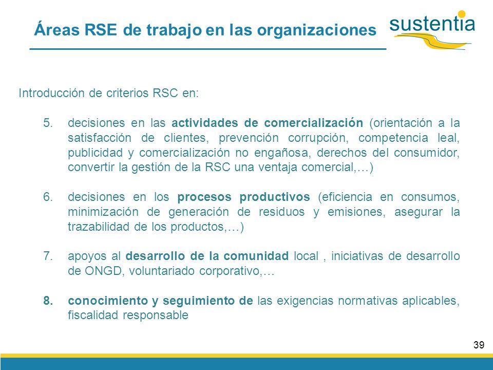38 Áreas RSE de trabajo en las organizaciones Introducción de criterios RSC en: 1.en los valores, las políticas y el gobierno de la empresa (compromiso responsable, transparencia, ética en la gestión,…) 2.decisiones de compras (materias primas, productos elaborados o semielaborados,…), prácticas éticas hacia proveedores, apoyar a proveedores locales 3.gestión de empleados (selección, bajas, contratación, promoción, comunicación, incentivos,…): empleo estable, no discriminación, igualdad de oportunidades, derechos laborales, seguridad y salud laboral, compatibilidad vida profesional/familiar, integración de colectivos, involucración en la gestión,… 4.decisiones en el diseño de productos o servicios (calidad, ciclo de vida esperado, consumos en el uso, impactos en medioambiente, residuos generados, riesgos de salud,…)