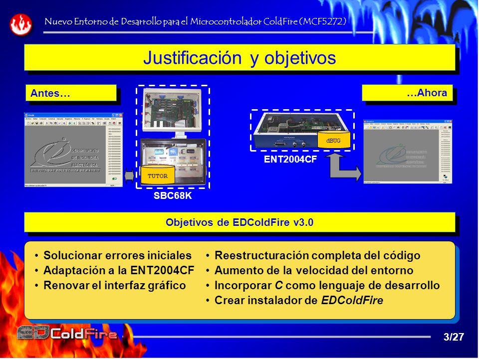 Instalador, Pruebas y Tutoriales en C Nuevo Entorno de Desarrollo para el Microcontrolador ColdFire (MCF5272) 24/27 Tareas complementarias realizadas: Baterías de pruebas inicial Instalador de EDColdFire v3.0 Creación de Tutoriales en C Programas + Librerías en C Tareas complementarias realizadas: Baterías de pruebas inicial Instalador de EDColdFire v3.0 Creación de Tutoriales en C Programas + Librerías en C