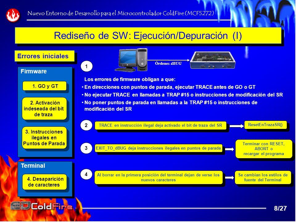 Rediseño de SW: Ejecución/Depuración (II) Inhabilitar los botones de ejecución Anular los valores de los registros en la barra de herramientas ¿Está ejecutándose el programa.