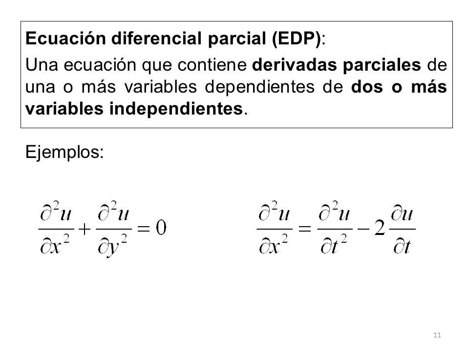 11 Ecuación diferencial parcial (EDP): Una ecuación que contiene derivadas parciales de una o más variables dependientes de dos o más variables indepe