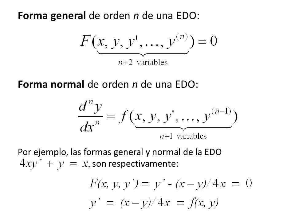 15 Forma general de orden n de una EDO: Forma normal de orden n de una EDO: Por ejemplo, las formas general y normal de la EDO son respectivamente: