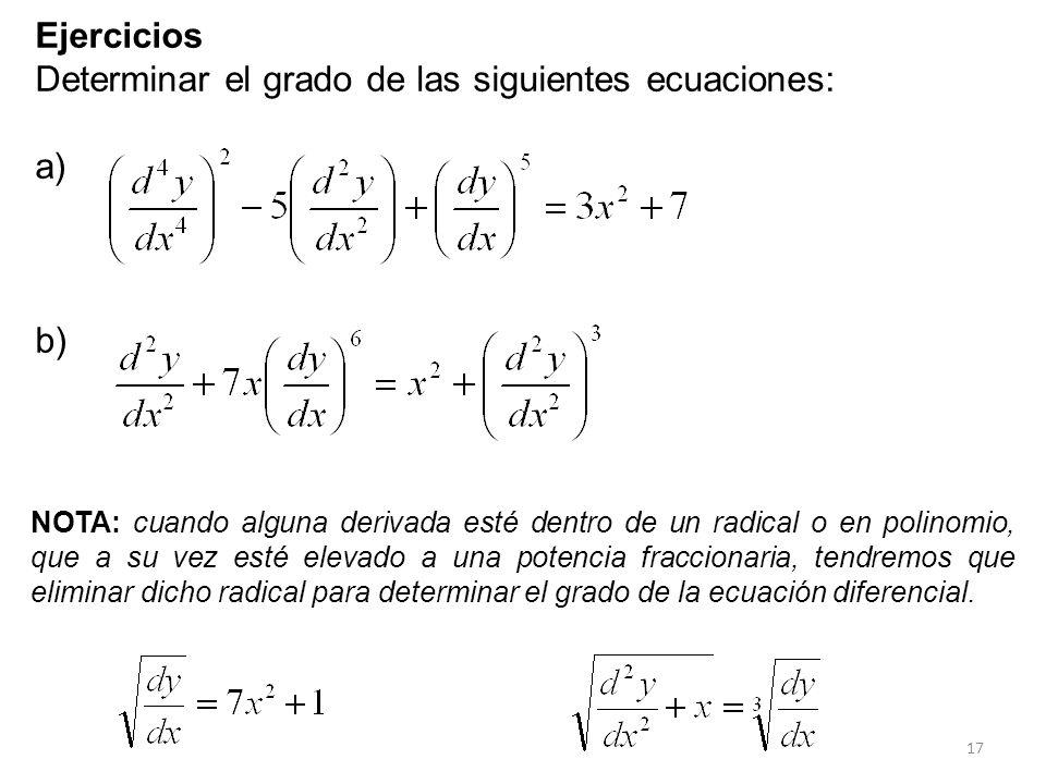 17 Ejercicios Determinar el grado de las siguientes ecuaciones: a) b) NOTA: cuando alguna derivada esté dentro de un radical o en polinomio, que a su