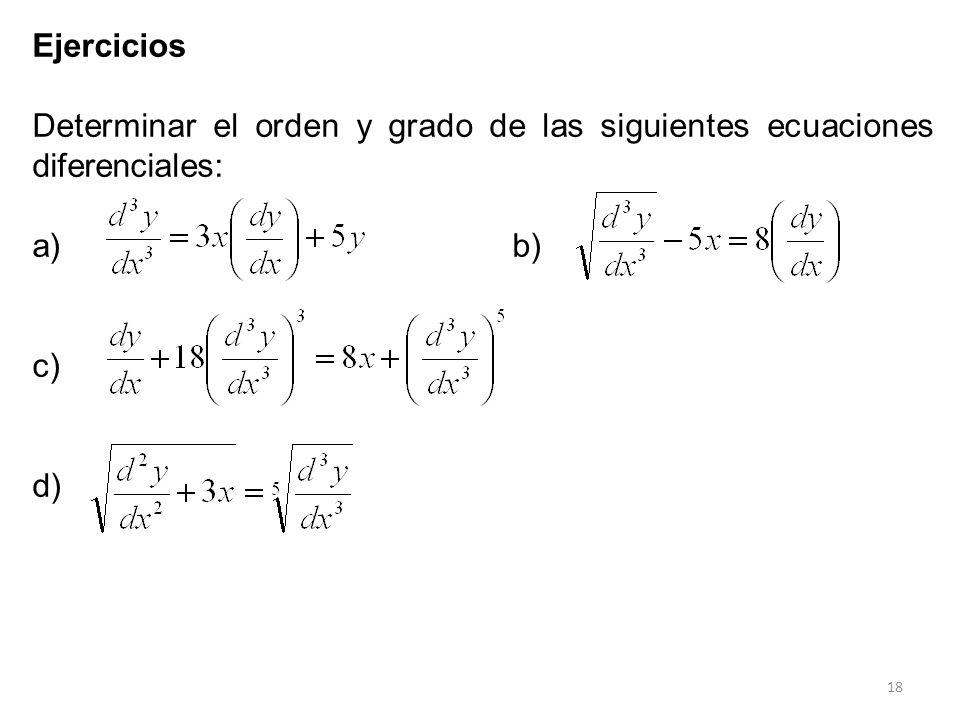 18 Ejercicios Determinar el orden y grado de las siguientes ecuaciones diferenciales: a)b) c) d)