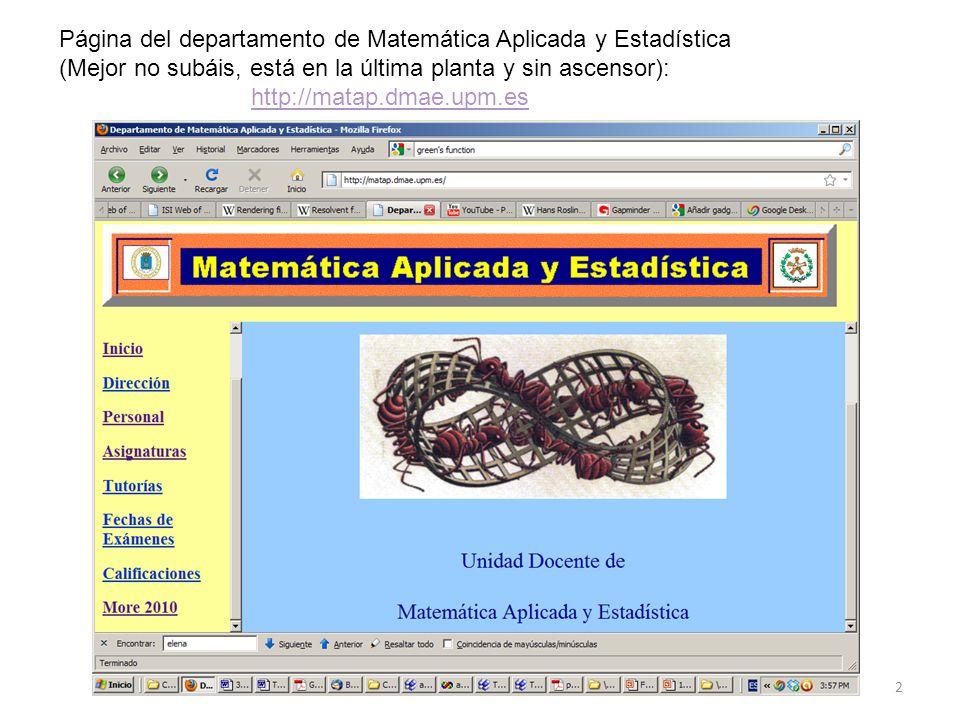 2 Página del departamento de Matemática Aplicada y Estadística (Mejor no subáis, está en la última planta y sin ascensor): http://matap.dmae.upm.es