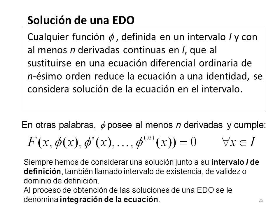 25 Solución de una EDO Cualquier función, definida en un intervalo I y con al menos n derivadas continuas en I, que al sustituirse en una ecuación dif