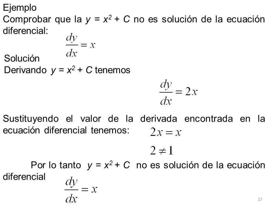 27 Ejemplo Comprobar que la y = x 2 + C no es solución de la ecuación diferencial: Sustituyendo el valor de la derivada encontrada en la ecuación dife