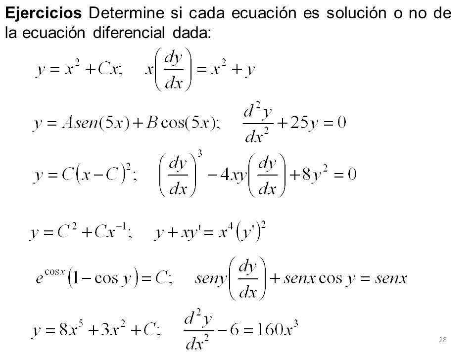 28 Ejercicios Determine si cada ecuación es solución o no de la ecuación diferencial dada: