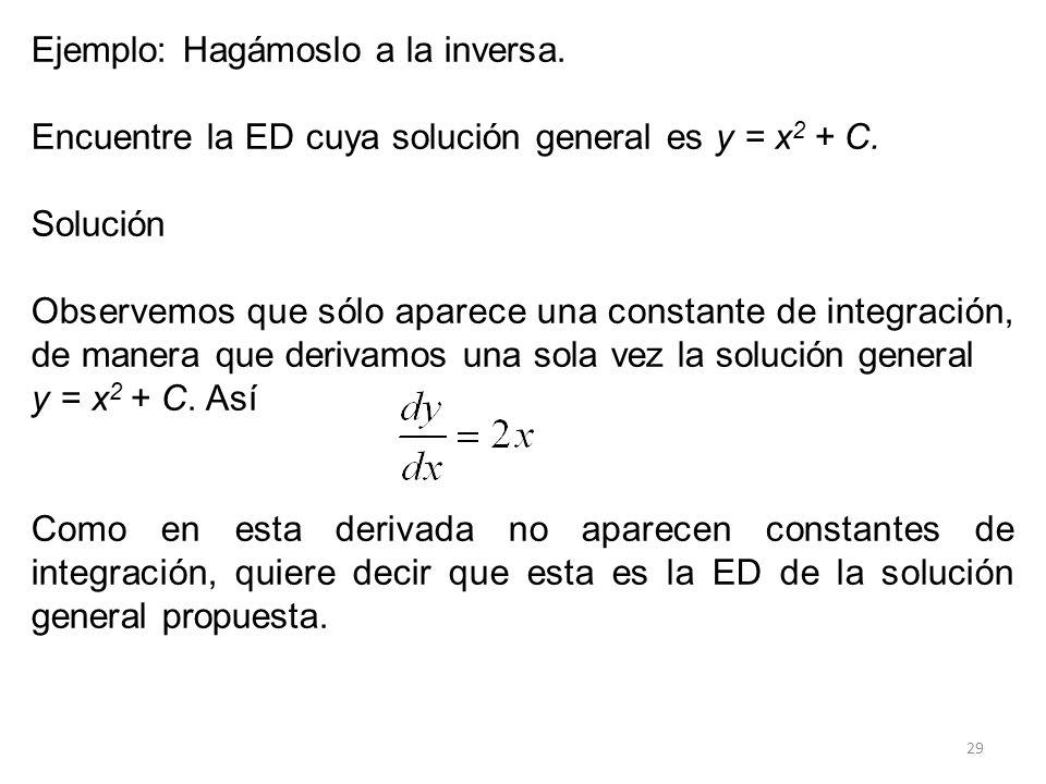 29 Ejemplo: Hagámoslo a la inversa. Encuentre la ED cuya solución general es y = x 2 + C. Solución Observemos que sólo aparece una constante de integr