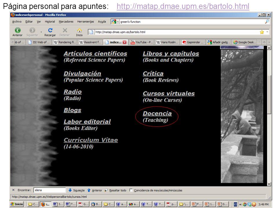 3 Página personal para apuntes: http://matap.dmae.upm.es/bartolo.htmlhttp://matap.dmae.upm.es/bartolo.html