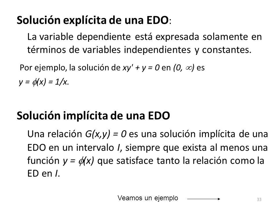 33 Solución explícita de una EDO : La variable dependiente está expresada solamente en términos de variables independientes y constantes. Por ejemplo,