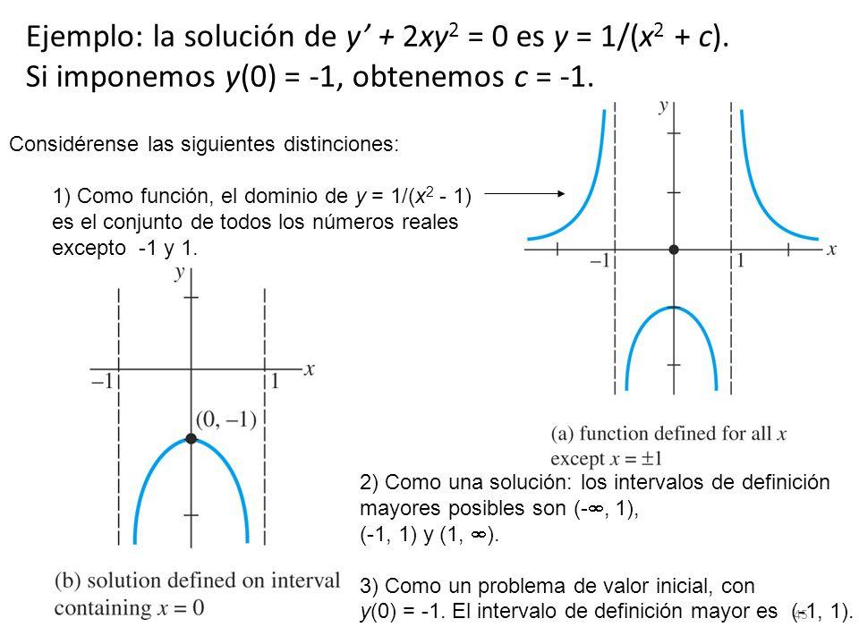 45 Ejemplo: la solución de y + 2xy 2 = 0 es y = 1/(x 2 + c). Si imponemos y(0) = -1, obtenemos c = -1. Considérense las siguientes distinciones: 1) Co
