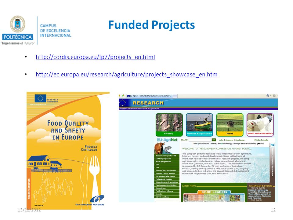 Funded Projects http://cordis.europa.eu/fp7/projects_en.html http://ec.europa.eu/research/agriculture/projects_showcase_en.htm 13/12/201212