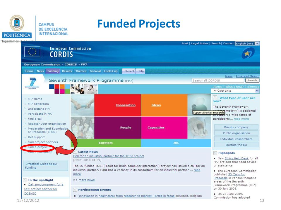 Funded Projects 13/12/201213