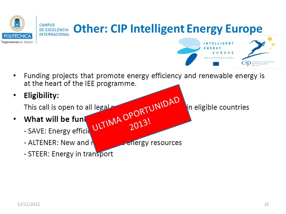 Other: CIP Intelligent Energy Europe Funding projects that promote energy efficiency and renewable energy is at the heart of the IEE programme.