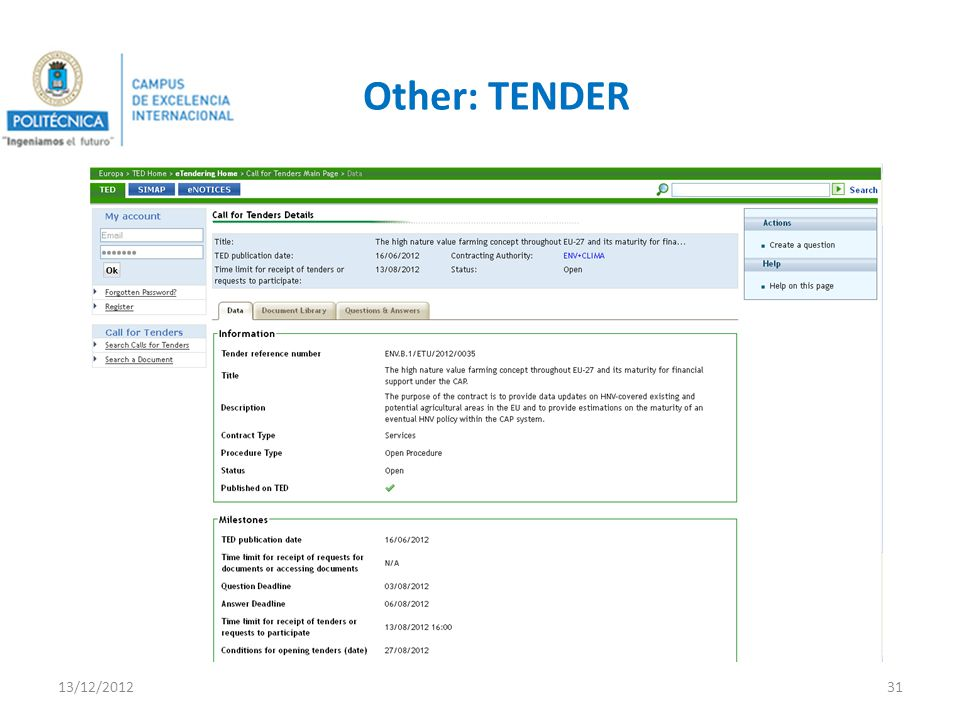 Other: TENDER 13/12/201231