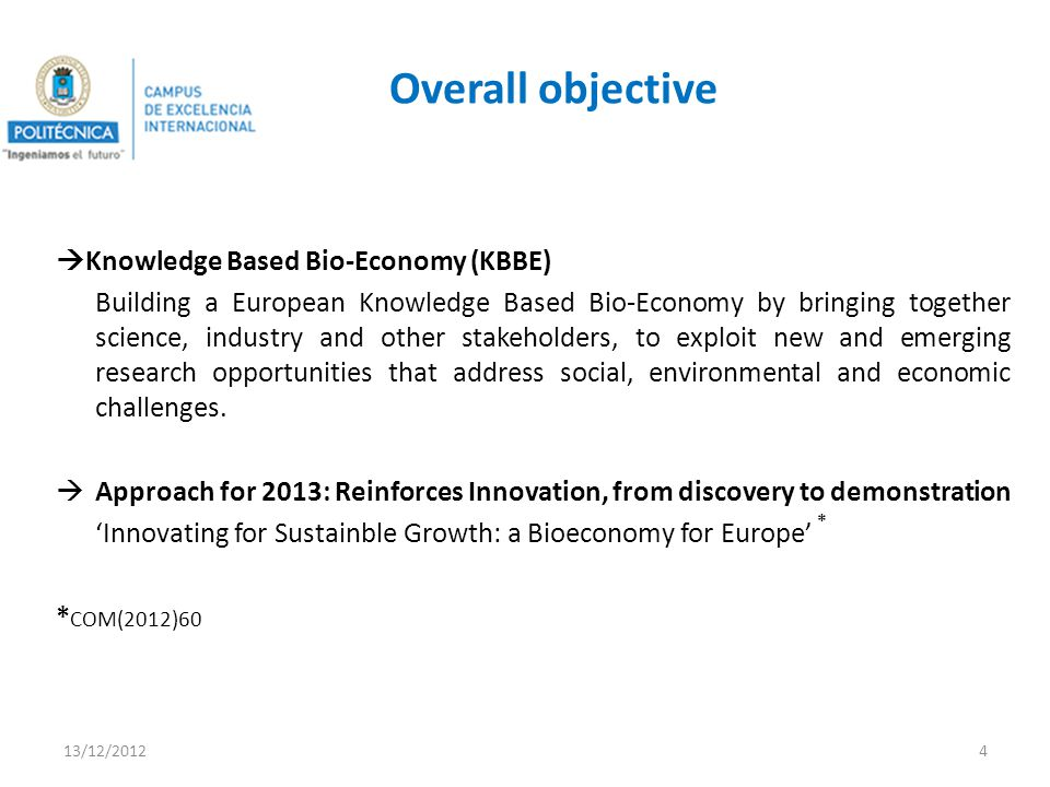 Overall objective Knowledge Based Bio-Economy (KBBE) Building a European Knowledge Based Bio-Economy by bringing together science, industry and other